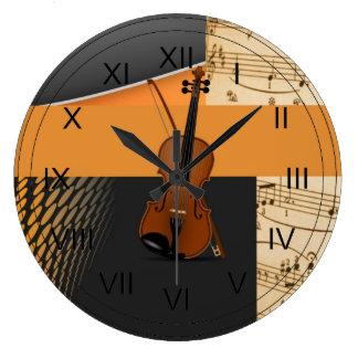 Violín en Música-Tema abstracto Relojes De Pared