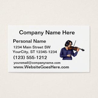 Violin female player blue shirt business card