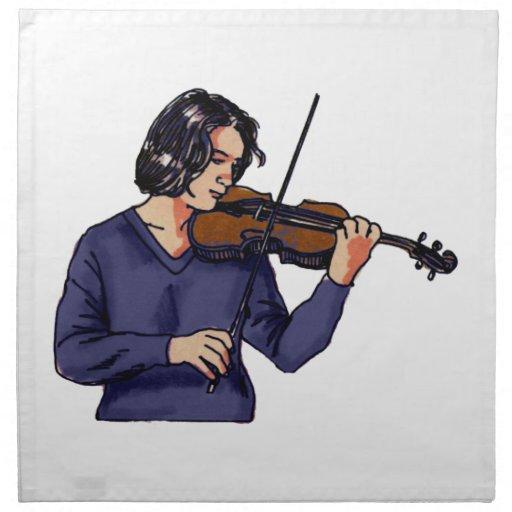 Violin female player blue shirt cloth napkins