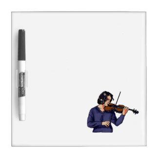 Violin female player blue shirt Dry-Erase boards