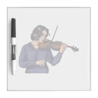 Violin female player blue shirt Dry-Erase whiteboard