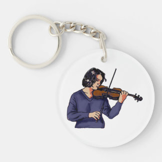 Violin female player blue shirt keychain