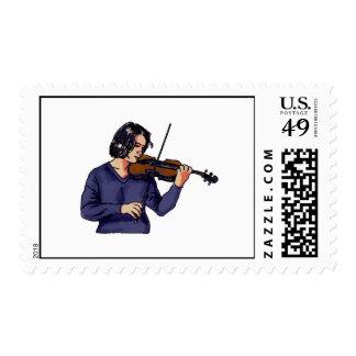 Violin female player blue shirt postage