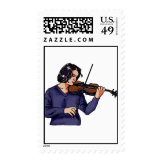 Violin female player blue shirt postage stamp