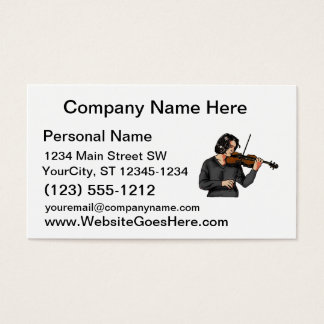 Violin female player grey shirt graphic business card
