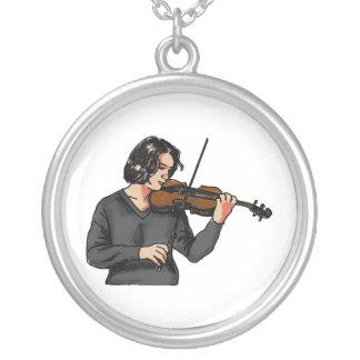 Violin female player grey shirt graphic custom necklace