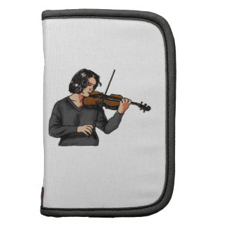 Violin female player grey shirt graphic folio planners