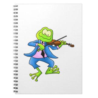 Violin Fiddle Frog Spiral Notebooks