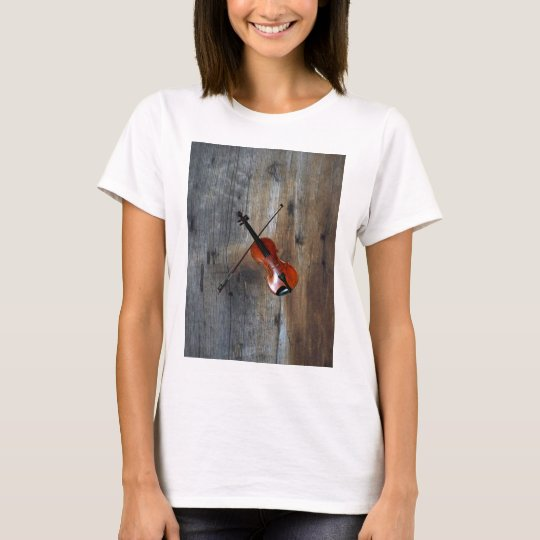 Violin ~ Fiddle With Barnwood Background T-Shirt