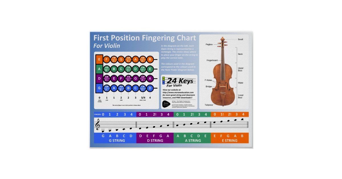Violin Fingering Chart  Zazzle