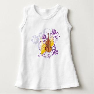 Violin Floral Swirl Baby Sleeveless White Dress