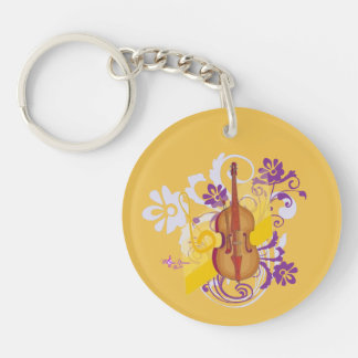 Violin Floral Swirl Gold Round 2-Sided Keychain Double-Sided Round Acrylic Keychain