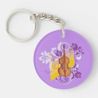 Violin Floral Swirl Purple Round 2-Sided Keychain Double-Sided Round Acrylic Keychain