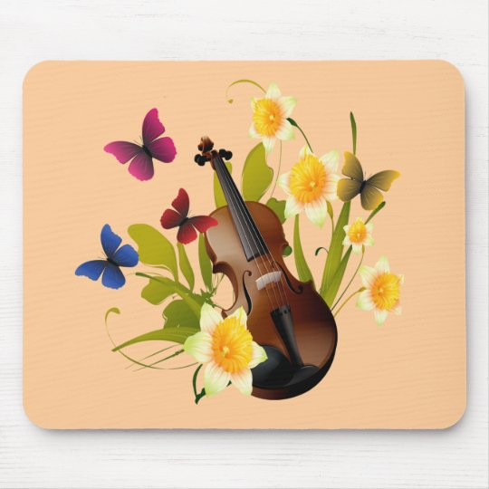 VIOLIN, FLOWERS AND BUTTERFLIES MOUSE PAD