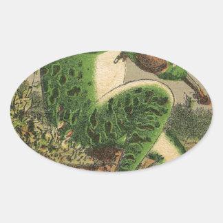 Violin Frog Oval Sticker