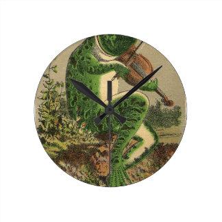 Violin Frog Round Clock