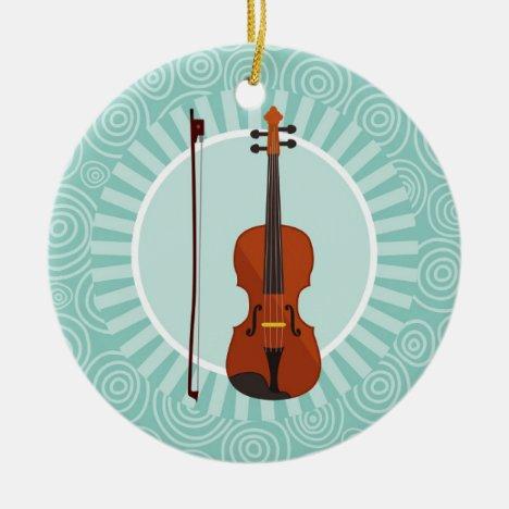 Violin Fun Turquoise Swirl Music Ceramic Ornament
