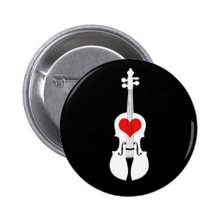 Violin Graphic Black and White with Red Heart Pinback Button