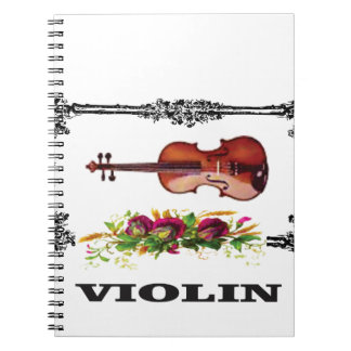 violin in a frame with petals spiral notebook