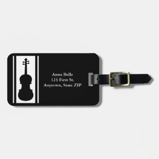 Violin in Black and White ID Travel Bag Tag