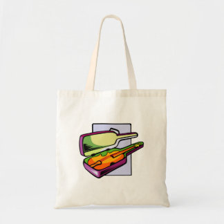 Violin in case purple and green graphic tote bag