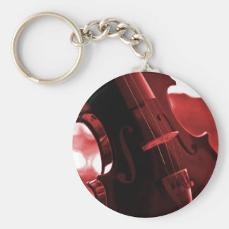 Violin in Red and Black Basic Round Button Keychain