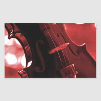 Violin in Red and Black Rectangular Sticker