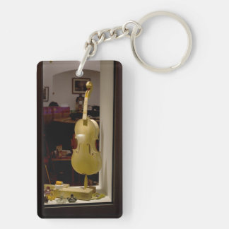 Violin In Shopping Window Keychain