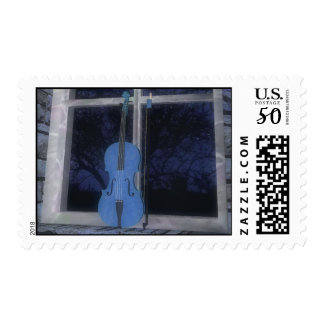 Violin in the Window: Blue Version: Custom Postage