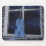 Violin in the Window: Blue Version: Mousepad