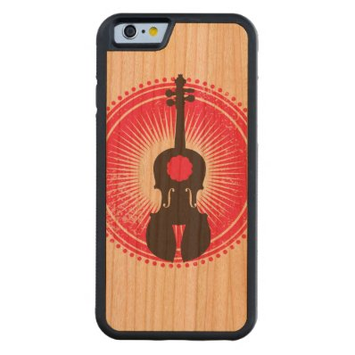 Violin iphone Design on Sustainable Natural Wood Carved® Cherry iPhone 6 Bumper
