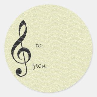 violin key music classic round sticker