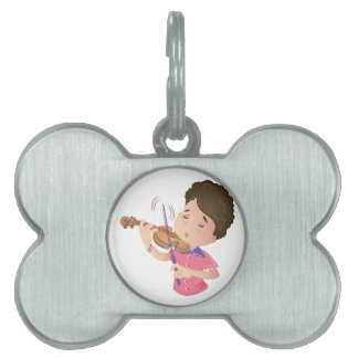 Violin Kid Pet Name Tag