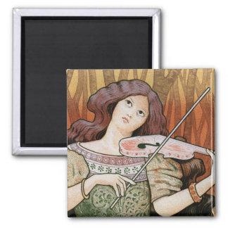 Violin Lessons [Lecons de Violon] by Paul Berthon 2 Inch Square Magnet