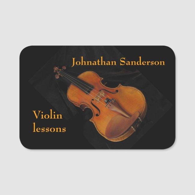 Violin Lessons Music Name Tag