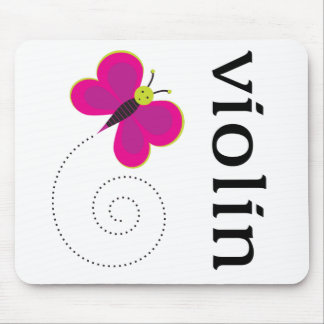 Violín lindo de la mariposa mouse pad