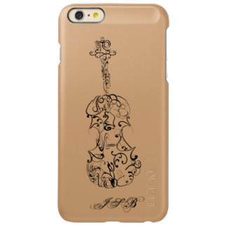 Violin Line Drawing,  Customizable Initials Incipio Feather Shine iPhone 6 Plus Case