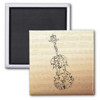 Violin Line Drawing on Bach Music Manuscript 2 Inch Square Magnet