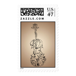 Violin Line Drawing on Tan Gradient Postage