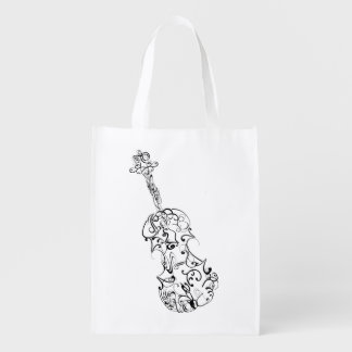 Violin Line Drawing Reusable Grocery Bags