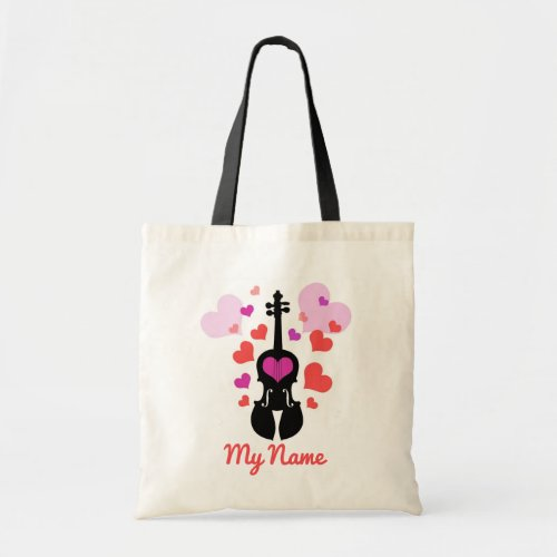 Violin Love and Hearts_Add Your Own Name Tote Bag