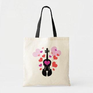 Violin Love and Hearts Tote Bag