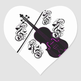 Violín, love_ oscilante pegatina en forma de corazón