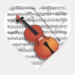Violín Lover_ Pegatina En Forma De Corazón