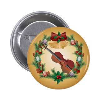 Violin Music Christmas Wreath Musician Gift 2 Inch Round Button