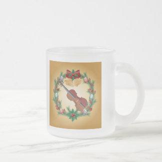 Violin Music Christmas Wreath Musician Gift 10 Oz Frosted Glass Coffee Mug