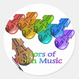 Violin music classic round sticker