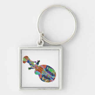 VIOLIN Music Insrument Abstract Colorful Art fun Silver-Colored Square Keychain