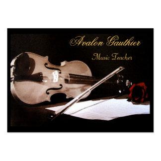 Violin Music Teacher Elegant Rose Business Card