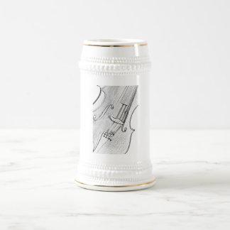 Violín o cerveza Stein del dibujo de la viola o ta Tazas De Café